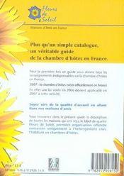 Chambres d'hôtes fleurs de soleil (édition 2007) - 4ème de couverture - Format classique