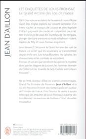 Les enquêtes de Louis Fronsac T.16 ; le grand arcane des rois de France - 4ème de couverture - Format classique