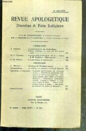 REVUE D'APOLOGETIQUE - DOCTRINE & FAIT RELIGIEUX - N° 387 - 15 JUIN 1922 - la declaration de nos Archeveques (suite), l'ecole publique ne doit pas etre neutre par J.-Verdier - à propos d'un article de la