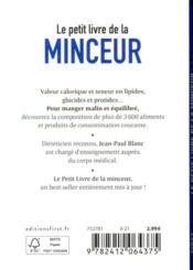 Le petit livre de la minceur ; calories, glucides, lipides... + de 3 600 aliments décryptés (édition 2021) - 4ème de couverture - Format classique