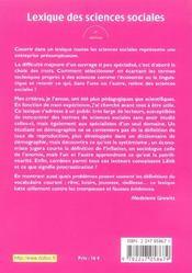 Lexique des sciences sociales - 8e ed. (8e édition) - 4ème de couverture - Format classique