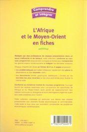 L'Afrique et le Moyen-Orient en fiches - 4ème de couverture - Format classique