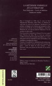La methode formelle en litterature introduction a une poetique sociologique - 4ème de couverture - Format classique