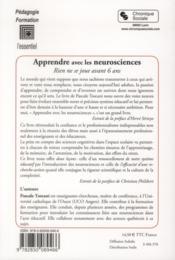 Apprendre avec les neurosciences - 4ème de couverture - Format classique
