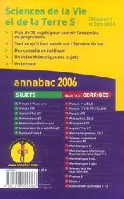 Annabac Sujets T.6 (édition 2006) - 4ème de couverture - Format classique