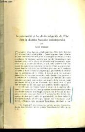 La Personnalite Et Les Droits Subjectifs De L'Etat Dans La Doctrine Francaise Contemporaine - (Plaquette) - Couverture - Format classique