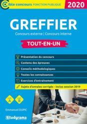 Greffier ; concours externe, interne ; catégories A, B ; tout-en-un (édition 2020) - Couverture - Format classique