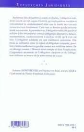 Le Fondement De L'Obligation Solidaire En Droit Prive Francais - 4ème de couverture - Format classique
