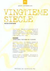 Revue Vingtieme Siecle N.71 ; Apprendre L'Histoire De L'Europe - Intérieur - Format classique