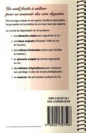 Le carnet de dégustation du vin - 4ème de couverture - Format classique