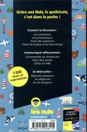 Le parler québecois ; guide de conversation pour les nuls - 4ème de couverture - Format classique