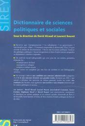 Dictionnaire des sciences politiques et sociales - 4ème de couverture - Format classique