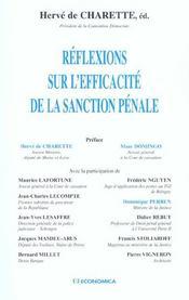 Reflexions Sur L'Efficacite De La Sanction Penale - Intérieur - Format classique