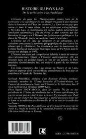 Histoire du pays Lao de la préhistoire à la republique - 4ème de couverture - Format classique