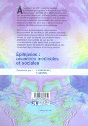 Epilepsies : avancees medicales et sociales - 4ème de couverture - Format classique