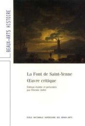 La font de saint-yenne, oeuvre critique - Couverture - Format classique