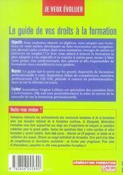 Le guide de vos droits à la formation - 4ème de couverture - Format classique