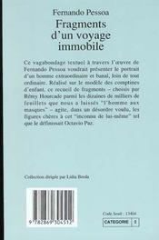 Fragments d'un voyage immobile (1ere ed) - 4ème de couverture - Format classique