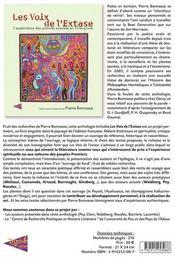 Les voix de l'extase ; l'experience des plantes sacrees en litterature - 4ème de couverture - Format classique
