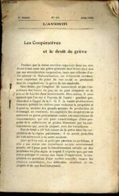 LES COOPERATIVES ET LE DROIT DE GREVE - EXTRAIT DE L'AVENIR - N°50 - JUIN 1920 - 5e année. - Couverture - Format classique
