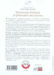 Dictionnaire d'histoire et philosophie des sciences (4e édition) - 4ème de couverture - Format classique