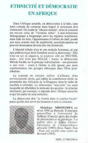 Ethnicite Et Democratie En Afrique ; L'Homme Tribal Contre L'Homme Citoyen - 4ème de couverture - Format classique