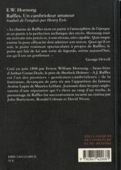 Raffles , un cambrioleur amateur - 4ème de couverture - Format classique