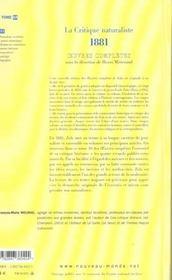 Emile zola oeuvres completes tome 10 la critique naturaliste 1881-1882 - 4ème de couverture - Format classique