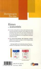 Dictionnaire Bordas des rimes et sonorités - 4ème de couverture - Format classique