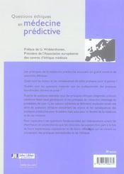 Questions Ethiques En Medecine Predictive - 4ème de couverture - Format classique