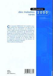 Annuaire 2000 Orphanet Des Maladies Rares - 4ème de couverture - Format classique