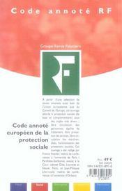 Code annote europeen de la protection sociale. - 4ème de couverture - Format classique