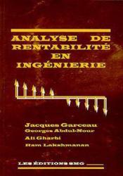 Analyse de rentabilite en ingenierie avec diskette - Couverture - Format classique