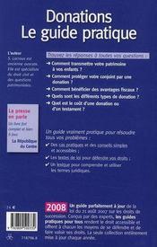 Donations ; le guide pratique (édition 2008) - 4ème de couverture - Format classique