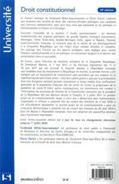 Droit constitutionnel (édition 2021) - 4ème de couverture - Format classique