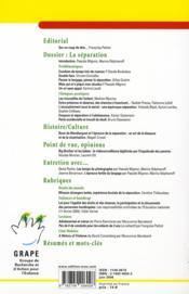 Lettre Du Grape N.64 ; La Séparation - 4ème de couverture - Format classique
