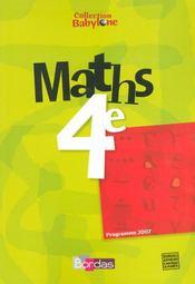 Maths ; 4ème ; manuel (édition 2007) - Intérieur - Format classique