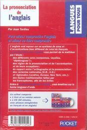 Coffret La Prononciation De L'Anglais - 4ème de couverture - Format classique