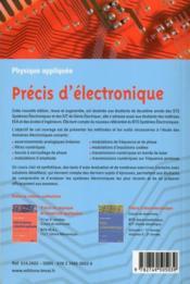 Précis d'électronique ; cours et exercices ; 2ème année ; STS systèmes électrniques, IUT de génie électronique - 4ème de couverture - Format classique
