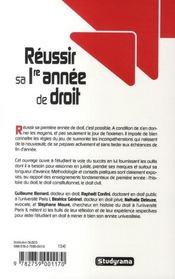 Réussir sa première année de droit (édition 2007-2008) - 4ème de couverture - Format classique