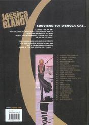 JESSICA BLANDY. Tome I : Souviens-toi d'Enola Gay - 4ème de couverture - Format classique