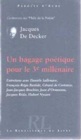 Un Bagage Poetique Pour Le 3e Millenaire - Couverture - Format classique