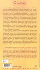 Champlain la decouverte du canada - 4ème de couverture - Format classique