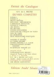 Oeuvres completes ii. poesies, tome 2 - 4ème de couverture - Format classique