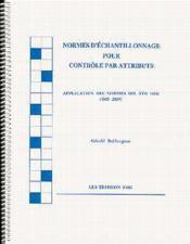 Normes d'echantillonnage pour contr le - Couverture - Format classique