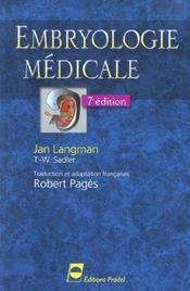 Embryologie Medicale 7eme Edition - Intérieur - Format classique