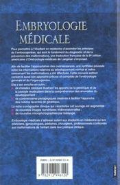 Embryologie Medicale 7eme Edition - 4ème de couverture - Format classique