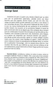 George Sand ; naissance d'une vocation - 4ème de couverture - Format classique