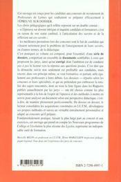 L'Epreuve Sur Dossier Capes Cafep & Caer Plp2 Lettres Nouveaux Programmes Nouvelle Edition - 4ème de couverture - Format classique