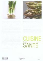 Cuisine de la santé - 4ème de couverture - Format classique